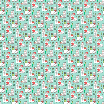 Holidays Christmas llamas on Mint Green Tiny Small 0,5 inch Width