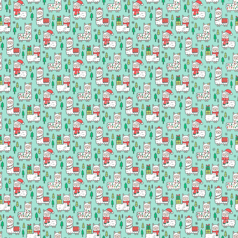 Holidays Christmas llamas on Mint Green Tiny Small 0,5 inch Width fabric by caja_design on Spoonflower - custom fabric