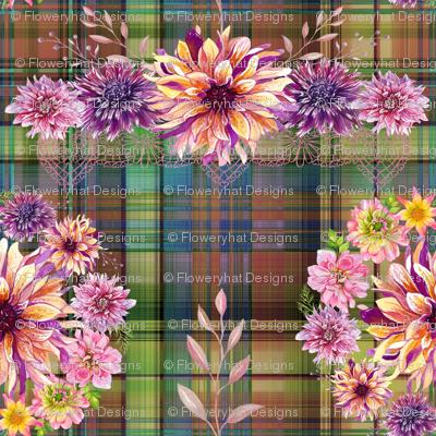 DALHIA WREATH BOUQUET FLOWERS ON MADRAS PLAID AUTUMN SHADES