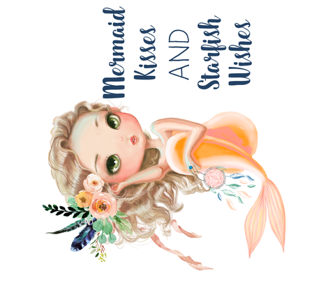 "42""x36""  peach mermaid / NO BACKGROUND ILLUSTRATIONS / 90 degrees fabric by shopcabin on Spoonflower - custom fabric"