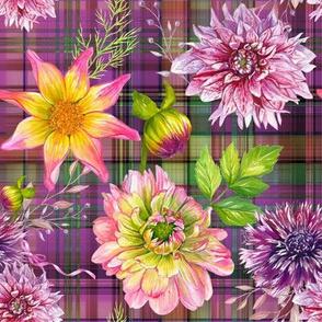 DALHIA FLOWERS SCATTERED ON MADRAS PLAID FUCHSIA BURGUNDY GREEN