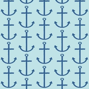 navy anchors on light blue
