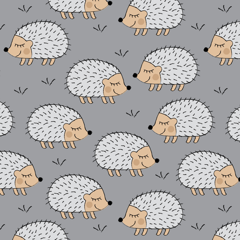 hedgehogs on grey fabric by lilcubby on Spoonflower - custom fabric