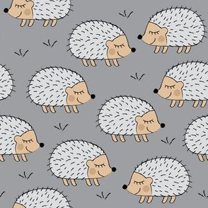 hedgehogs on grey