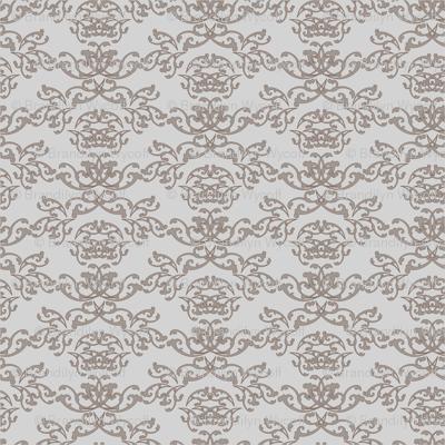 Grey + Beige Flourish Wallpaper