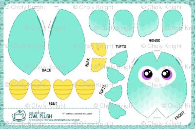Cut & Sew Aqua Owl Plush