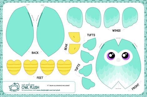 Cut & Sew Aqua Owl Plush fabric by sewdesune on Spoonflower - custom fabric