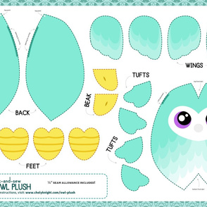 Cut & Sew Aqua Owl Plush