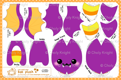 Cut & Sew Bat Plush Candy Corn