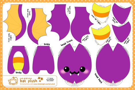 Cut & Sew Bat Plush Candy Corn fabric by sewdesune on Spoonflower - custom fabric