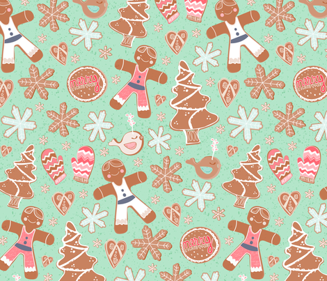 Gingerbread Cookie Field fabric by pixabo on Spoonflower - custom fabric