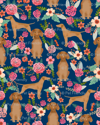 vizsla floral dog fabric smaller florals dog design