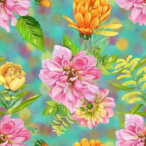 DALHIA FLOWERS CALENDULAS AND ROSES ON AQUA TURQUOISE BLUE by FLOWERYHAT
