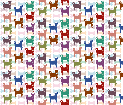 Dogs and Their Bones fabric by gargoylesentry on Spoonflower - custom fabric
