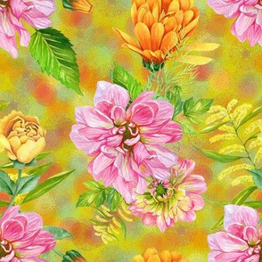 DALHIAS CALENDULAS AND ROSES ON LIME GREEN by FLOWERYHAT