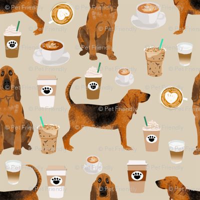 bloodhound fabric smaller dogs and coffees design - sand