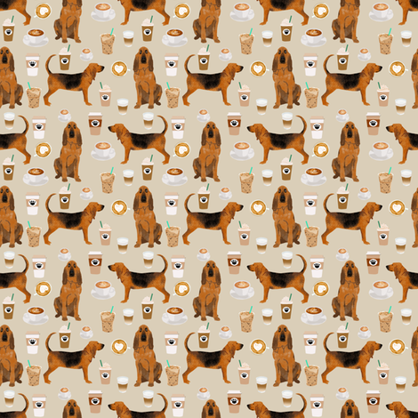 bloodhound fabric smaller dogs and coffees design - sand fabric by petfriendly on Spoonflower - custom fabric