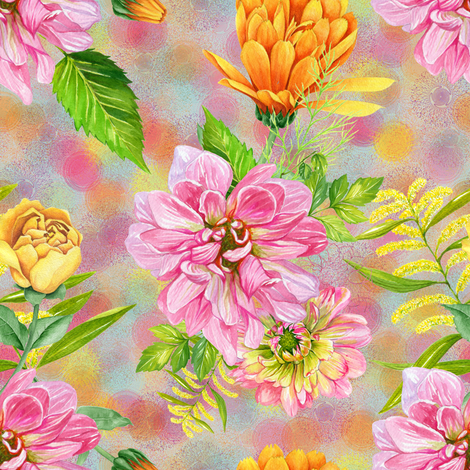 DALHIAS CALENDULAS AND ROSES ON GRAY fabric by floweryhat on Spoonflower - custom fabric
