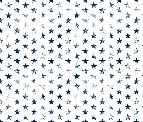 Distressed Navy Blue Stars on White (Grunge Vintage 4th of July American Flag Stars) fabric by sweeterthanhoney on Spoonflower - custom fabric