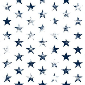 Distressed Navy Blue Stars on White (Grunge Vintage 4th of July American Flag Stars)