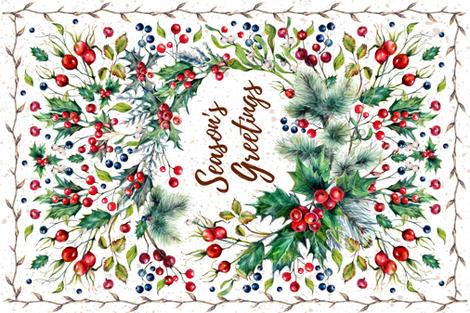 Tea Towel - Winter Wreath fabric by malibu_creative on Spoonflower - custom fabric