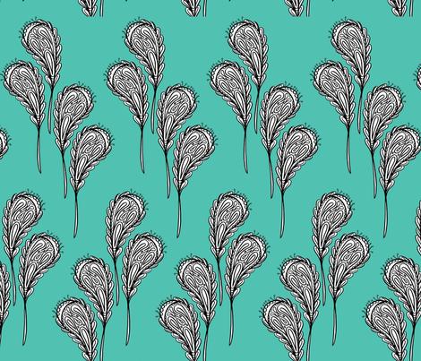 leaf pattern 2 on aqau fabric by cardamom_copy on Spoonflower - custom fabric