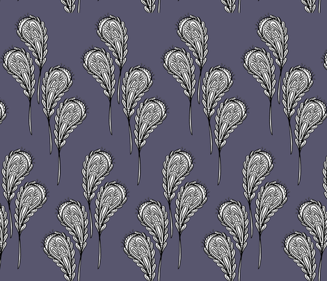 leaf pattern 2 on dark purple fabric by cardamom_copy on Spoonflower - custom fabric