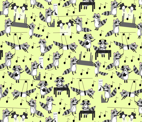 raccoon tech crew yellow fabric by pamelachi on Spoonflower - custom fabric