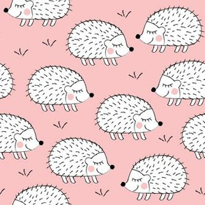 white hedgehogs on pink