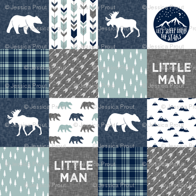 Happy Camper / Little Man - bear and moose - navy and dusty blue