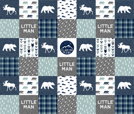 Happy Camper / Little Man - bear and moose - navy and dusty blue  fabric by littlearrowdesign on Spoonflower - custom fabric