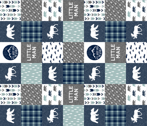 Happy Camper / Little Man - bear and moose - navy and dusty blue (90) fabric by littlearrowdesign on Spoonflower - custom fabric