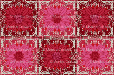 Pink poinsettas // floral giftwrap xmas holiday christmas fabric