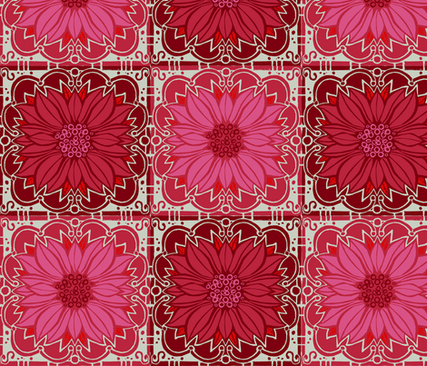 Pink poinsettas // floral giftwrap xmas holiday christmas fabric  fabric by monica_criswell on Spoonflower - custom fabric