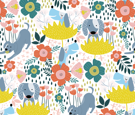 Dogs in Spring fabric by melarmstrongdesign on Spoonflower - custom fabric
