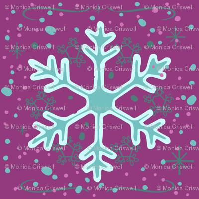 Neon Snowflakes // winter giftwrap xmas holiday christmas fabric