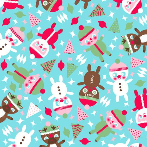 Santa Baby Blue fabric by heidikenney on Spoonflower - custom fabric