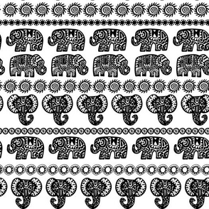 Indian Elephant with ornamental strips. Hand drawn ethnic tribal decorated Elephant.