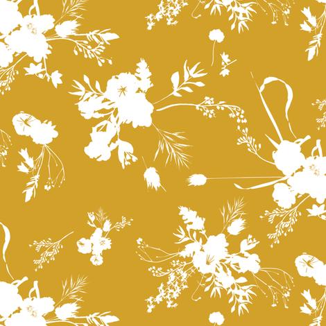 Le Parc Posy (mustard) fabric by nouveau_bohemian on Spoonflower - custom fabric