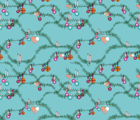 holiday cheer blue fabric by arrpdesign on Spoonflower - custom fabric