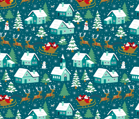 Santa in his sleigh with reindeers fabric by heleen_vd_thillart on Spoonflower - custom fabric