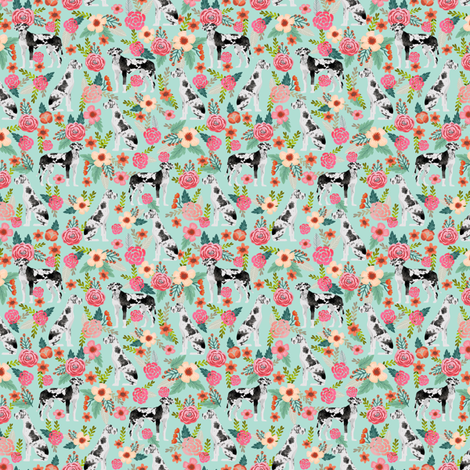 great dane florals smaller scale cute floral flowers dogs fabric best dog breeds dog designs cute dog fabrics florals les fleurs fabric fabric by petfriendly on Spoonflower - custom fabric