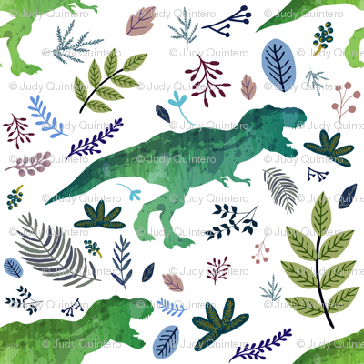 """8"""" Dino and Blue Leaves"""