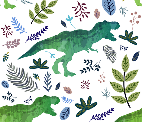 "21"" Dino and Blue Leaves fabric by shopcabin on Spoonflower - custom fabric"