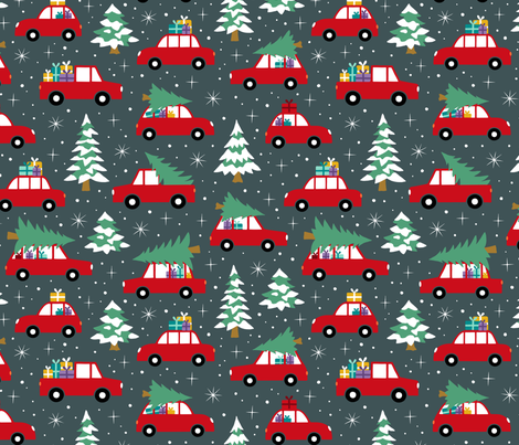 Driving home with christmas tree red dark fabric by heleen_vd_thillart on Spoonflower - custom fabric