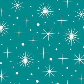 Christmas village stars teal