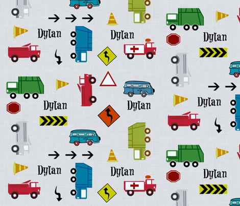 cars & trucks LARGE gray linen PERSONALIZED Dylan fabric by drapestudio on Spoonflower - custom fabric