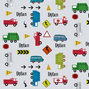 cars & trucks LARGE gray linen PERSONALIZED Dylan
