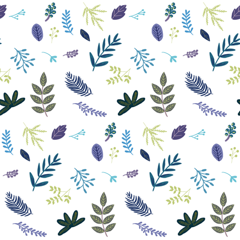 """4"""" Blue and Purple Leaves and Branches fabric by shopcabin on Spoonflower - custom fabric"""