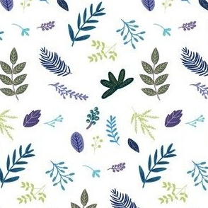 """4"""" Blue and Purple Leaves and Branches"""